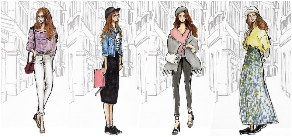 每天缺少穿搭靈感嗎?那就關注日本現在大人氣插畫家 Yumi Saburi