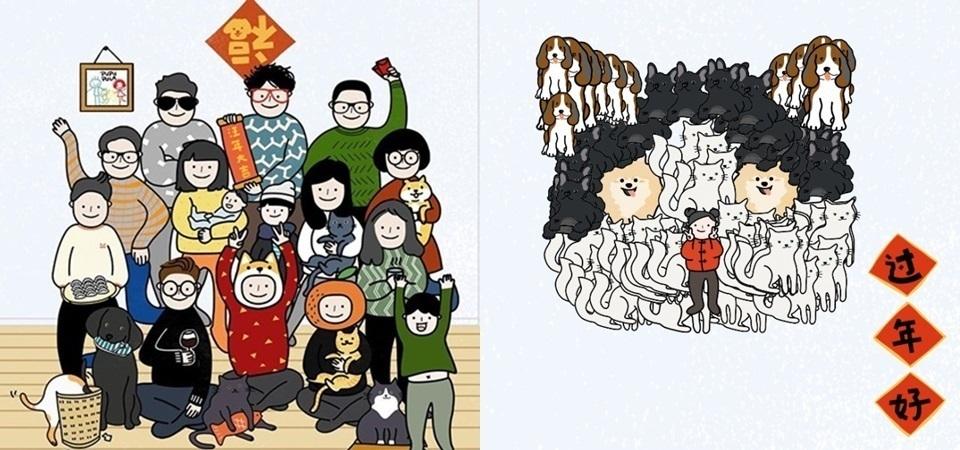 自己的家人自己畫!今年最洗版的新年團圓照,就是這款手繪全家福