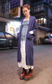 日本購入 漸層長洋裝的穿搭