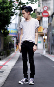 ALL SAINTS 黑色SKINNYJEANS的穿搭