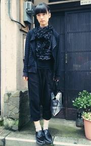 自己做的 黑色花邊上衣的穿搭