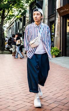 時尚穿搭:藍白寬鬆
