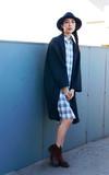 HI EARTH(!) 【秋冬厚款硬挺長版格紋襯衫】的時尚穿搭