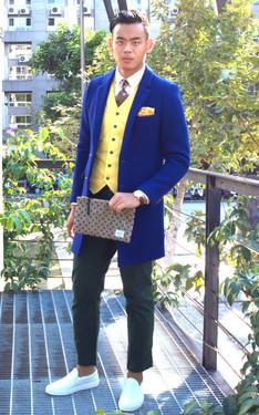 時尚穿搭:寶藍chester coat part2