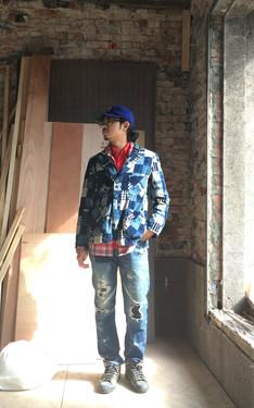時尚穿搭:check & blue