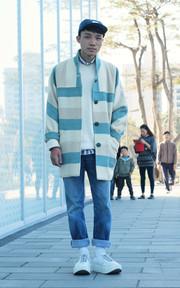 JAPAN  條紋毛料大衣的穿搭