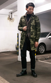 G-STAR RAW JACKET BURMANS LIGHT WEIGHT PARKA WAVE CAMO的穿搭