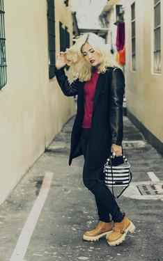 時尚穿搭:紅水黑大方