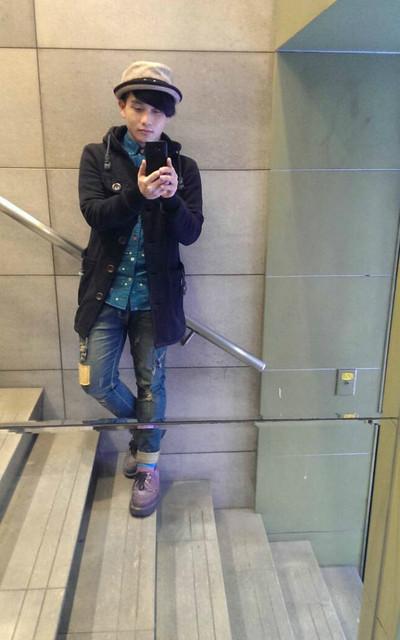 適合日系街頭、日系混搭、日本街頭、約會、上學、逛街/逛市集/逛任何你想逛的地方、出國旅行、長板棉大衣、日本彩點襯、復古拼布褲、??、MARCO WAY的穿搭
