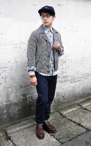 SYNDRO 條紋工作夾克的穿搭