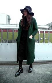 HUI GIN 長版針織外套的穿搭