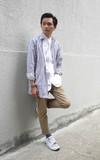 PLAIN-ME 自製商品  條紋襯衫式外套的時尚穿搭