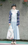 PAISHOP 翻領小花藍針織外套的時尚穿搭