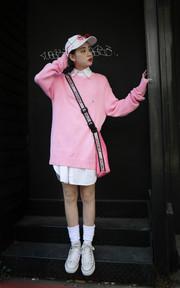 POLO  粉紅色針織衫的時尚穿搭