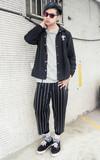 EGG ROLL BOYS 羊毛條紋寬褲的時尚穿搭