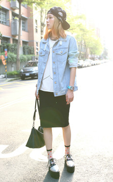 時尚穿搭:Why not denim x pencil skirt??