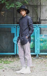 PLAIN-ME 條紋褲的穿搭