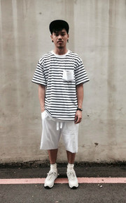 LIFUL MINIMAL GARMENTS. DROP SHOULDER STRIPE PKT TEE的穿搭