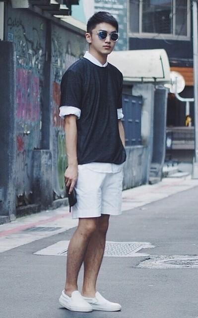 適合側拼接短袖T-SHIRT、純白拼接SLIP-ON、霜降棉織短褲、RADIANT、AMBASSADORS OF MINIMALISM、PLAIN-ME的穿搭