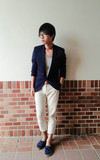 時尚穿搭:Blue blazer with blue moon