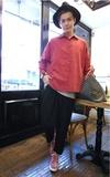 時尚穿搭:前短後長麂皮絨襯衫MIX麻質寬褲