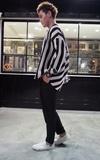 LILOVEMONSTA 黑白條紋不規則剪裁外衣的時尚穿搭