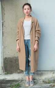 With a longline camel coat ❤