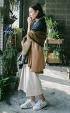 PUREE 色塊圍巾的時尚穿搭