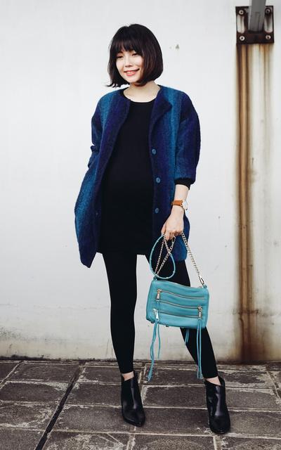 適合孕婦STYLE、DRESSING THE BUMP、BUMP STYLE、漸層藍、MINI 5 ZIP、PORTLAND  、漸層藍外套、REBECCA MINKOFF、SHORE PROJECTS、HOUSE OF V的穿搭