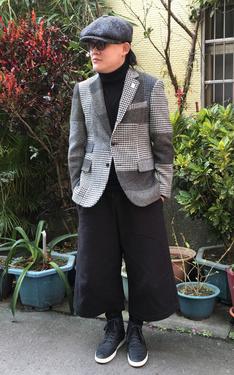 時尚穿搭:寬褲紳士祝大家新年快樂.千鳥紋拼接X大寬褲
