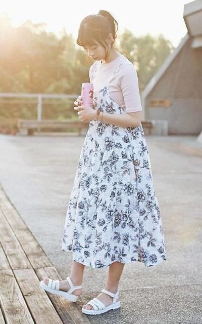 適合日常穿搭、日系、碎花洋裝、草莓牛奶、碎花穿搭的穿搭
