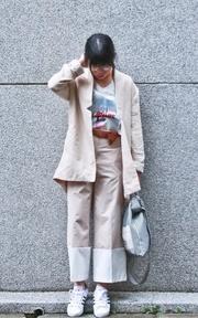 S LOOK 缺口棉麻外套/雙色西裝褲的時尚穿搭