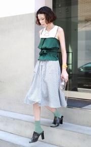 VINTAGE 法式條紋圓裙的時尚穿搭