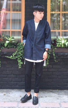 時尚穿搭:▲ #green #denim #day #kimono #casual #look #vintage。▲