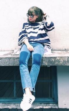 時尚穿搭:藍色單寧