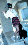 BADQUEEN 格紋百折短裙的時尚穿搭