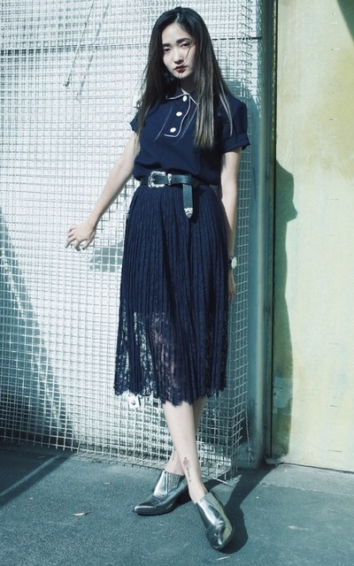 適合美、POLO衫、LACE DRESS、EARRINGS、PUBUTIC ACE、H&M、ENVOL AVEC NING的穿搭