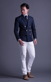 訂製 成套空軍藍雙排扣西裝的時尚穿搭