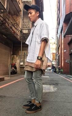 時尚穿搭:落肩襯衫x大地色