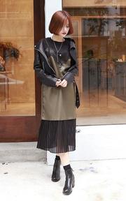 DC-KOREA正韓時尚 皮革拼接蕾絲雪紡背心裙的穿搭