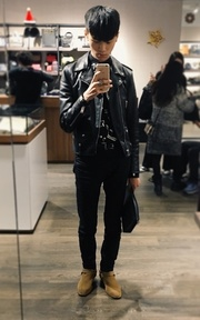 SAINT LAURENT  騎士皮衣的穿搭