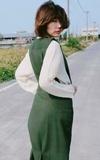 PIXEL HELIX 森林系麂皮綠色長窄裙/ 水波紋皺摺衣的時尚穿搭