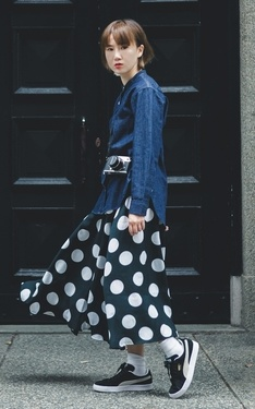 時尚穿搭:DENIM & POLKA DOT