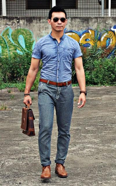 適合人字紋條紋牛仔褲、ALLSAINTS的穿搭
