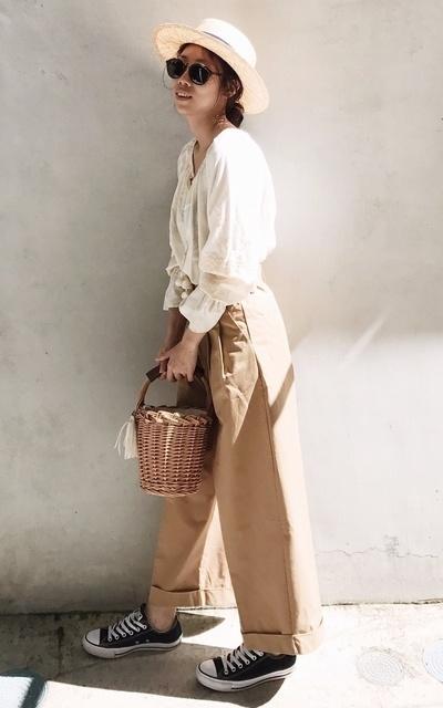 適合日系休閒、鄉村少女、寬褲、日系混搭、陽光下的穿搭