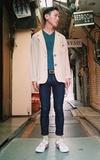 ONITSUKA TIGER 米色復古休閒鞋的時尚穿搭