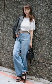 UNIQLO 高腰寬版牛仔褲的穿搭