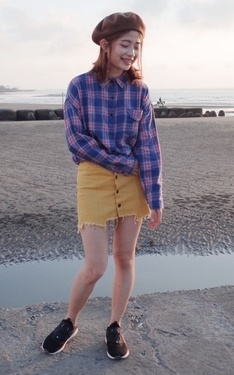 時尚穿搭:格子襯衫基本穿搭術III-短裙妹子