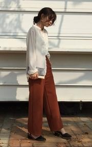 BLACK VIN 磚橘色落地西裝褲的穿搭