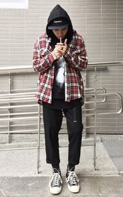 51PERCENT 51PERCENT EARTH WOOL PLAID CHECK SHIRT的穿搭